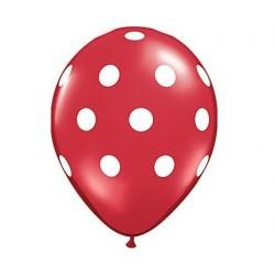 ballons rouge à pois blanc