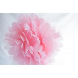 pompon en papier rose doux