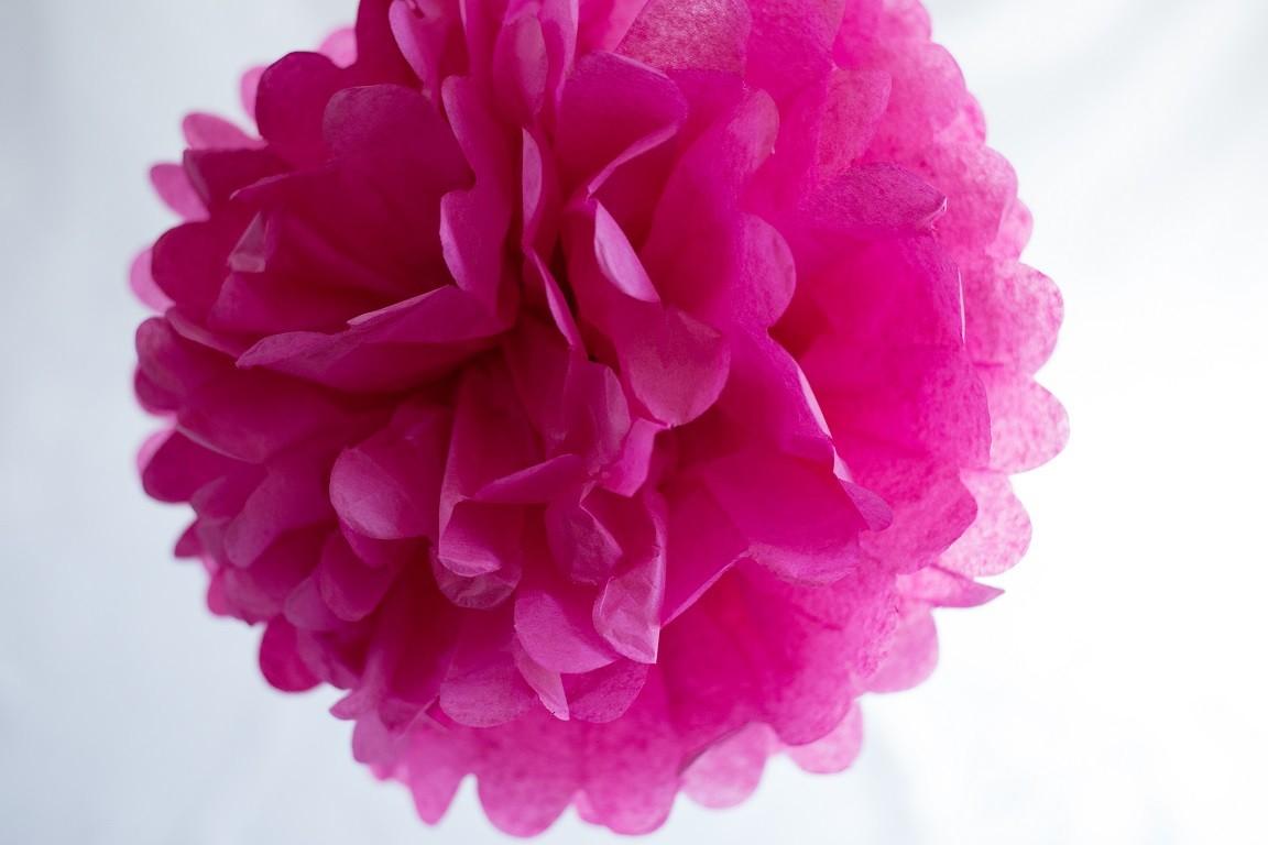 Acheter pompon papier rose fushia 25 cm sur hello pompon