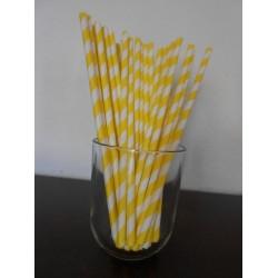 pailles papier à rayures jaune