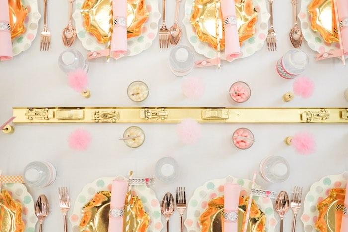tassel doré ivoire rose doux