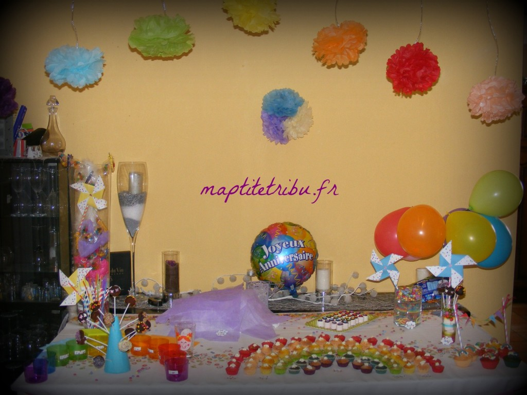 Photo anniversaire enfant pompon papier