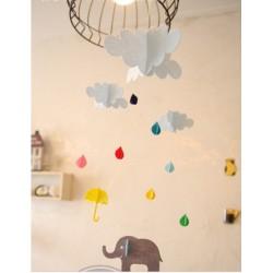 Mobile éléphant parapluie