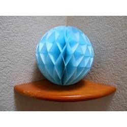Boule papier alvéolée bleu turquoise 25 cm
