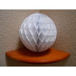 Boule papier alvéolée blanche 25 cm