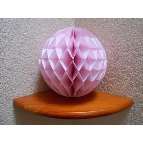 Boule papier alvéolée rose pale 25 cm