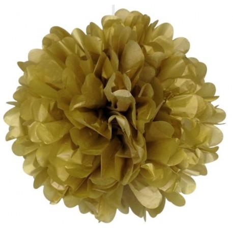 Pompon papier doré or 25 cm