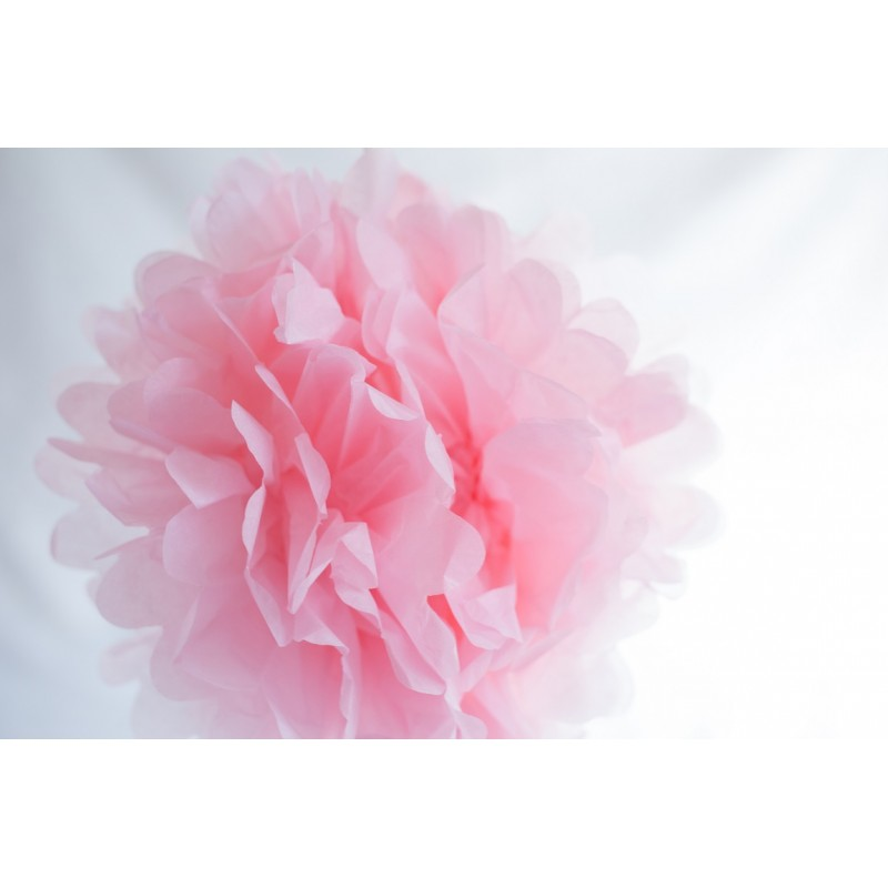 acheter pompon papier rose doux 25 cm sur hello pompon. Black Bedroom Furniture Sets. Home Design Ideas