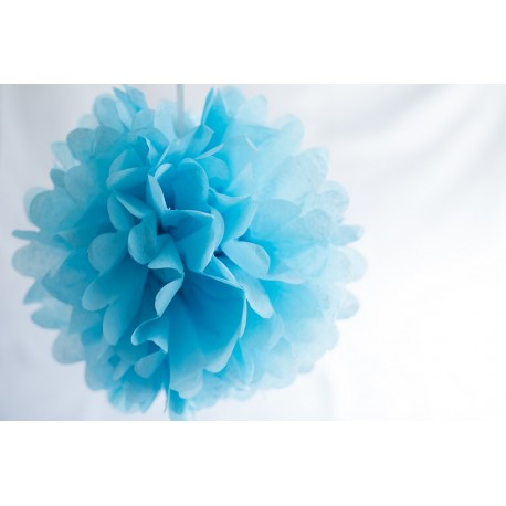 Pompon papier bleu ciel 30 cm