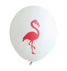 Ballon blanc flamant rose