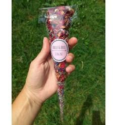25 cônes confettis fleurs séchées