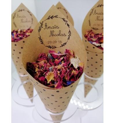 cones confettis mariage bohème