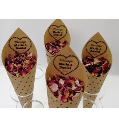cornet mariage confetti coeur