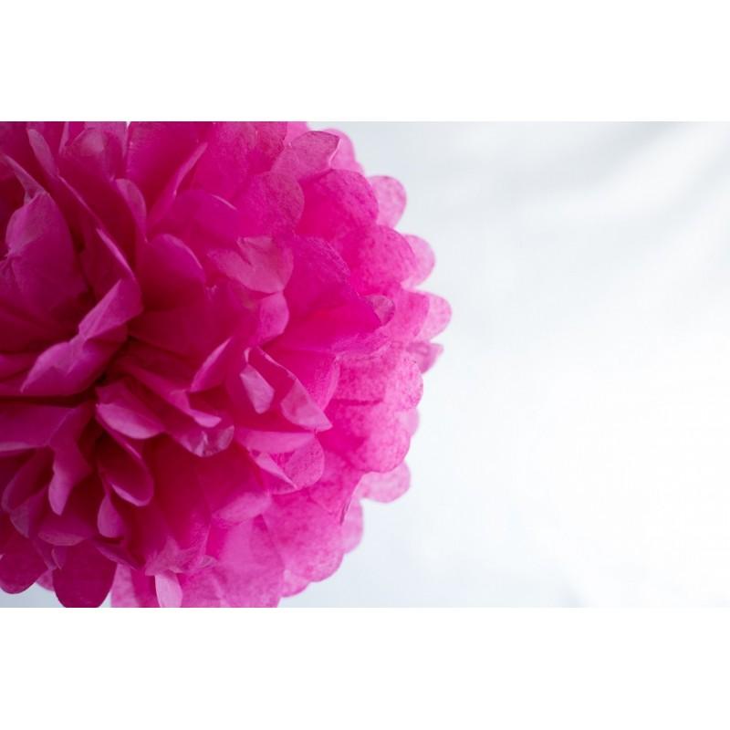 acheter pompon papier rose fushia 25 cm sur hello-pompon