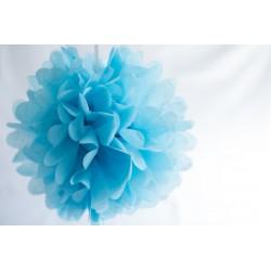 pompon papier bleu ciel