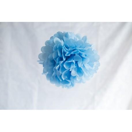 pompon bleu pale 25 cm