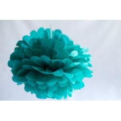 Pompon papier vert émeraude 25 cm