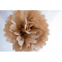 Pompon papier beige 25 cm