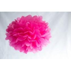 Pompon papier rose 25 cm