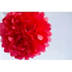 Pompon papier rouge 25 cm