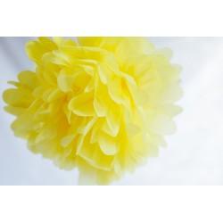 Pompon papier jaune poussin 25 cm