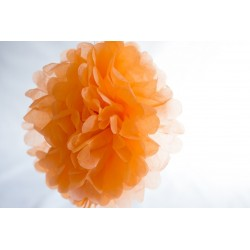 Pompon papier orange melon 25 cm