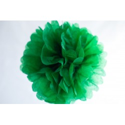 Pompon papier vert sapin 25 cm