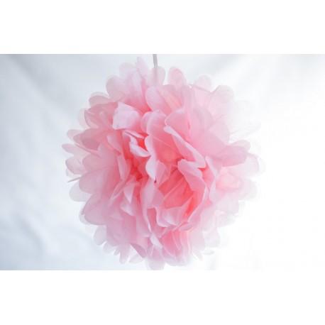 pompon papier rose doux