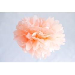 Très grand Pompon fleur pêche 38 cm