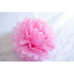 Mini pompon papier rose pâle 15 cm