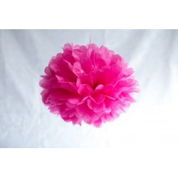 Mini pompon en papier rose 15 cm