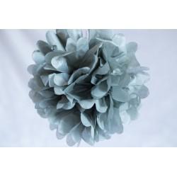 Mini pompon en papier gris 15 cm