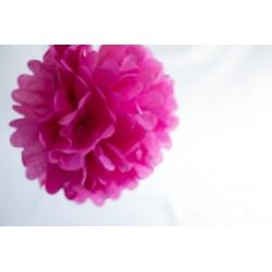 Mini pompon en papier rose fushia 15 cm