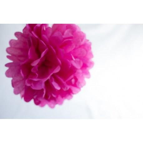 pompon papier fuschia 15 cm