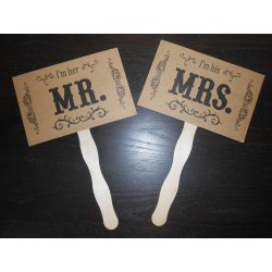 Pancartes photobooth kraft I'm her MR I'm his MRS