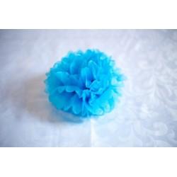 Pompon papier bleu 30 cm
