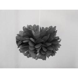 Pompon papier gris anthracite 25 cm