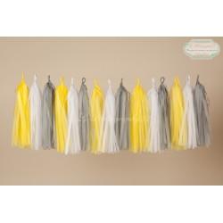 Guirlande tassel jaune, blanc, gris