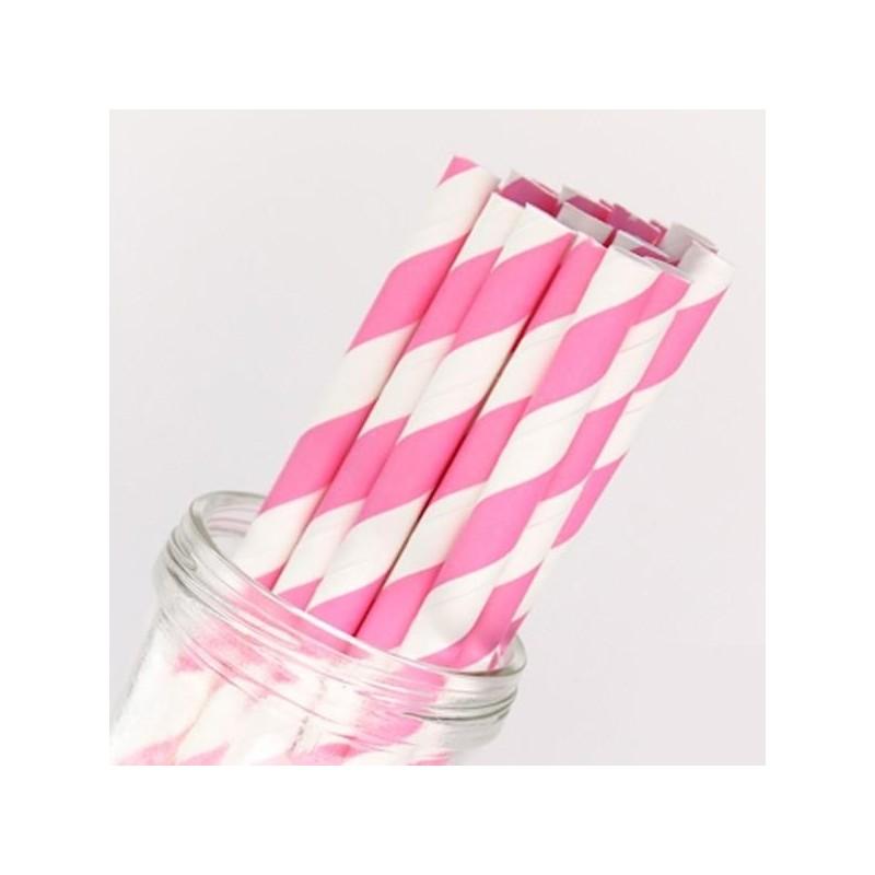 acheter pailles en papier rayures rose sur hello pompon. Black Bedroom Furniture Sets. Home Design Ideas