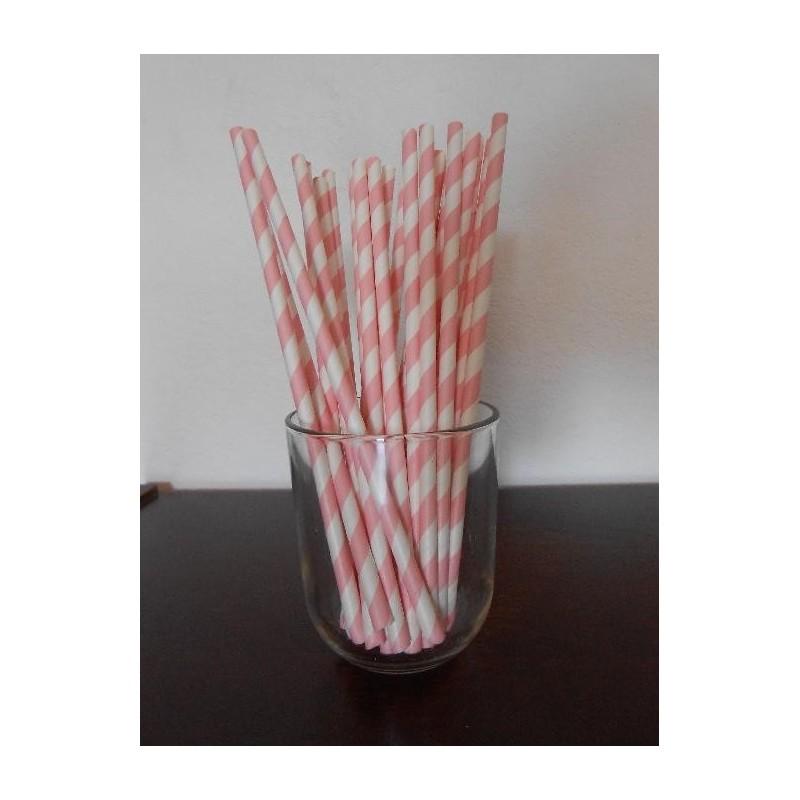 acheter pailles en papier rayures rose doux sur hello pompon. Black Bedroom Furniture Sets. Home Design Ideas