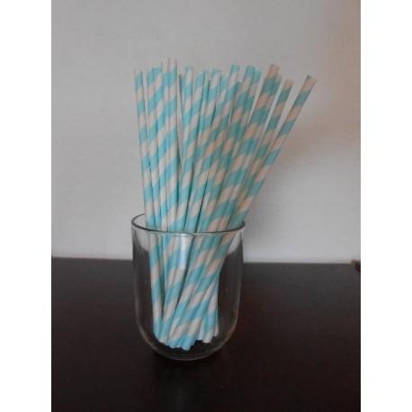 paille en papier bleu doux