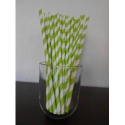 Pailles en papier Rayures Vert anis