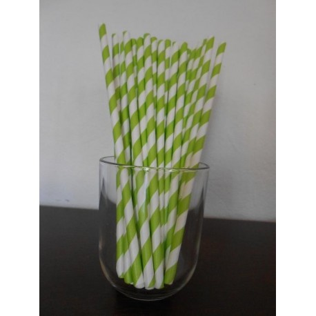 paille papier à rayures anis