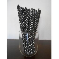 pailles papier à rayures noir