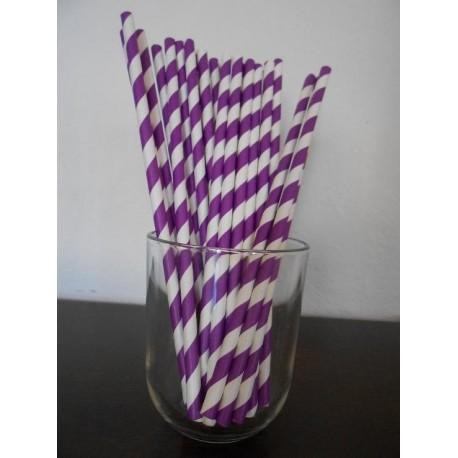 pailles en papier rayures violet