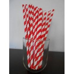 pailles en papier rayures rouge