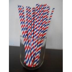 pailles papier rayures bleu blanc rouge
