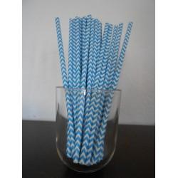 pailles papier chevrons bleu