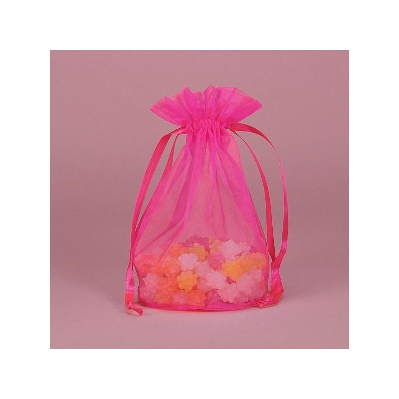 acheter 10 sachets drag es organza rose fushia sur hello pompon. Black Bedroom Furniture Sets. Home Design Ideas