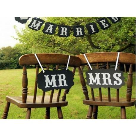 Pancartes photobooth noires MR / MRS